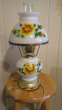 white and green floral table lamp