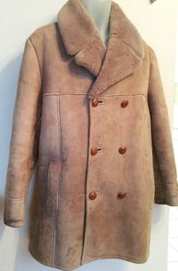 MENS L 42 44 Fab Quality BRITISH SHEARLING Coat Jacket LARGE 100% sheepskin Roomy Made in England Brown Rancher OAKVILLE Brown VERY THICK AND WARM Oakville