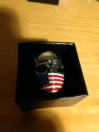 Stainless steel skull ring with American flag  Perryville, 21903