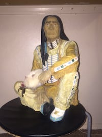 Ceramic Native sculpture with authentic smudge feather wand