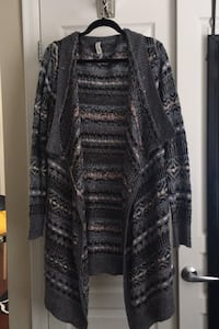 XL grey pattern long cardigan