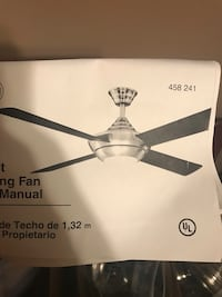 Black and silver ceiling fan missing one blade. Works great with two blades Waldorf, 20602