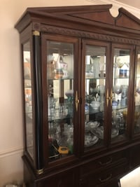 brown wooden framed glass display cabinet GERMANTOWN