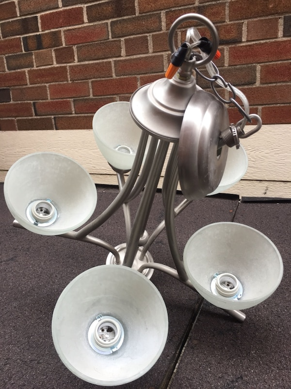 Light fixture pewter with frosted glass 2a1fc1ae-5be4-41cb-a5f6-4c40c9092dfe
