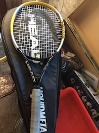 white, yellow, and black Head tennis racket with bag Saint Helena, 94574