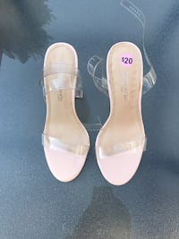 pair of beige leather open-toe heeled sandals Montreal