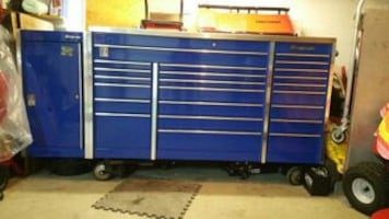 blue silver tool storage cabinet and stainless top