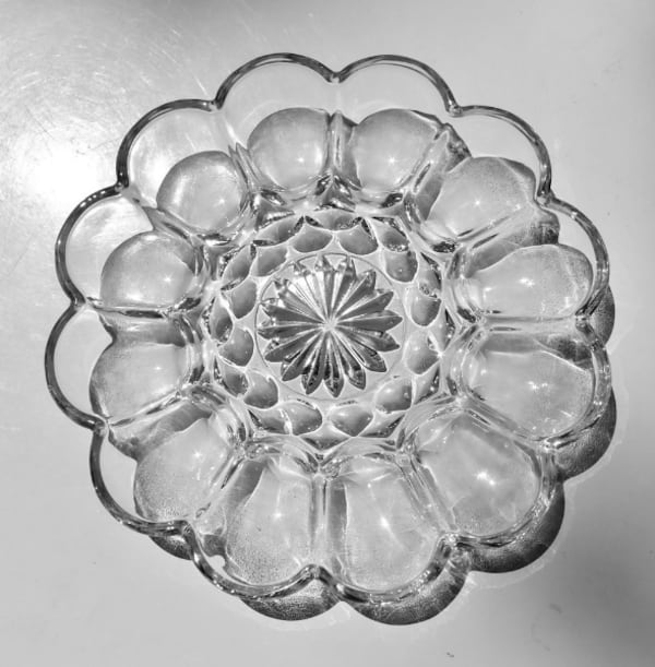"**PRICE DROP** Clear Glass Devil Eggs 10"" Tray w/Starburst Center  aa08d600-583e-4ff5-8f20-e884c46d747c"