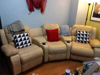 brown leather 3-seat recliner sofa Brampton, L6R 2G5