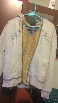 Grey Tommy Hilfiger zip-up hoodie Men's Small