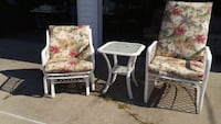 two brown wooden framed white and red floral padded armchairs Baroda, 49101