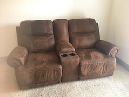 Brown microsuede reclining loveseat with console like new