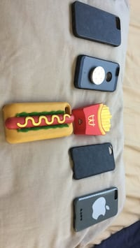 5 iPhone 6/7 cases, one portable charger with charging cable. San Gabriel, 91775
