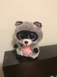 grey and pink animal plush toy