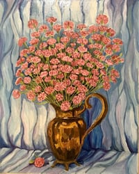 Original oil painting on canvas  ( Pink Carnations) Hand made  New York, 11230
