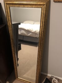 """Golden frame wooden mirror 55"""" x 20"""" with matching beside pictures  Edmonton, T5R"""