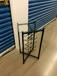 Black Wrought Iron Wine Stand with Glass Top  Langley, V3A 0C9