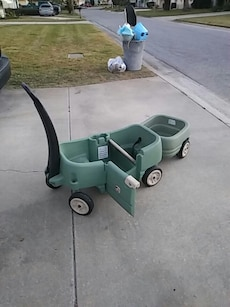 Pull along cart with trailer