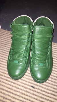 green high-top basketball shoes