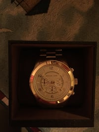 round gold Michael Kors chronograph watch with link bracelet Union, 29379