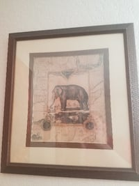 Framed African Elephant painting  SEATTLE