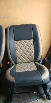 blue and white car seat