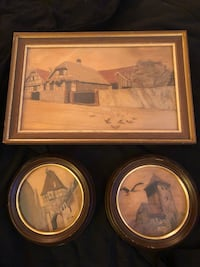 """Set of 3 Vintage Spindler Marquetry Inlaid Wood Art - circa 1930s framed. 13 1/2"""" x 8 1/2"""" and two round framed 6 1/4"""" D each Toronto, M3A 3E6"""