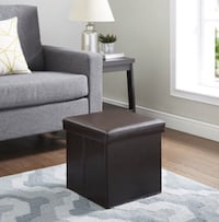 Ultra collapsible Storage Ottoman - Brown Faux Leather
