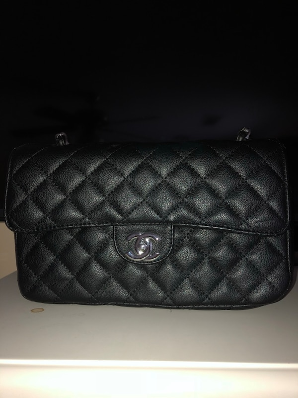 4e04cd18318f Used Quilted black chanel leather crossbody bag for sale in Roswell ...