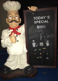 CHEF MAN WITH CHALK BOARD.