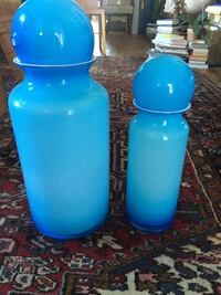 NEW-Set of 2 Pottery Barn Blue Glass Jars Washington
