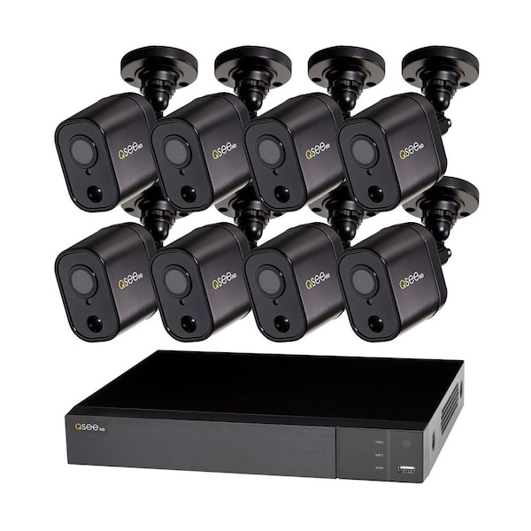 NIB Q-SEE 8-Channel 1080p 1TB Video Surveillance DVR System with 8 PIR Camera