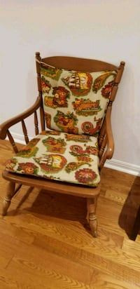 brown wooden framed white and red floral padded armchair Mississauga, L5L 2Y8