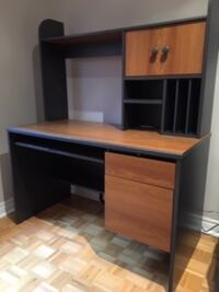 brown wooden computer desk with hutch Vaughan