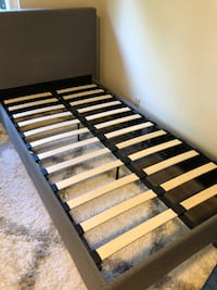 black and brown wooden bed frame SUNNYVALE