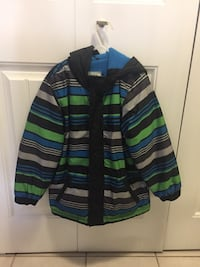black, green, and grey striped zip-up hooded jacket