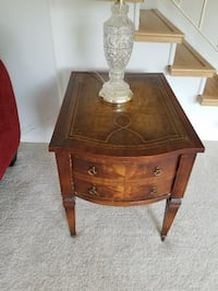 Leather top end tables - two sold as set  CHICAGO