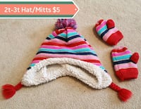 girl's purple-black-and-red striped bobble hat and pair of mittens Barrie