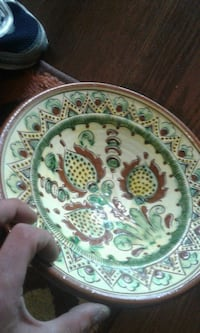 white, green, and red floral ceramic plate Victoria, V8W 2G5
