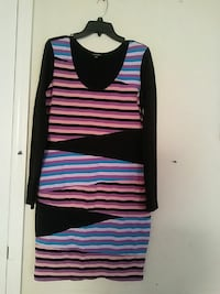 black, pink, and blue stripe long-sleeved mini dre
