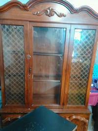 brown wooden framed glass display cabinet Baltimore, 21223