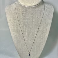10k White Gold Sapphire Pendant with 10k Chain Ashburn, 20147