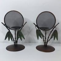 Bamboo Metal Candleholders with Screen Set of 2 Newport News, 23606