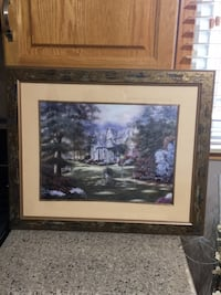 Brown wooden framed painting of house Elmira, N3B 1W4