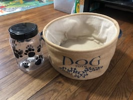 Dog treat container and toy basket