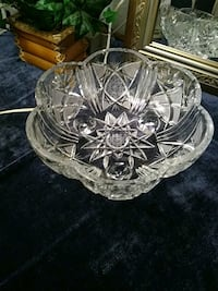 Large American Brilliant Cut Glass Bowl with feet 957 mi