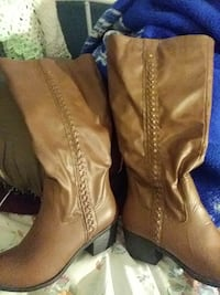 pair of brown leather round-toe chunky-heeled mid-calf boots