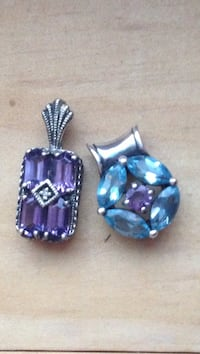 Two sapphire and amethyst pendants