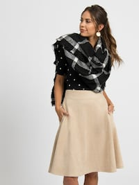 Faux Suede Skirt Cream