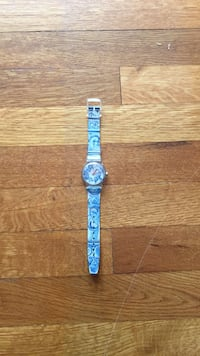round silver analog watch with blue strap Dover, 02030